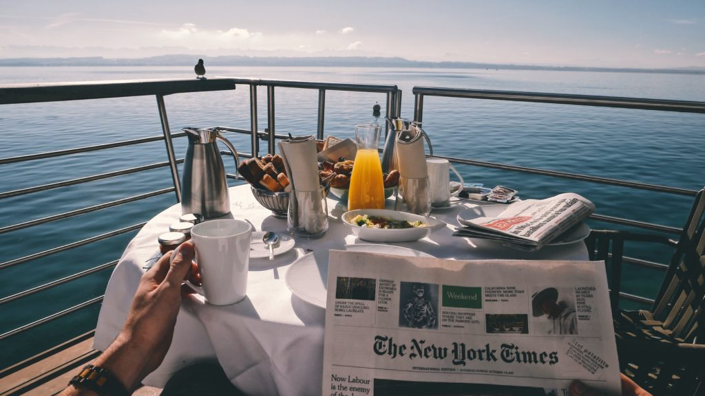 tipping on a cruise ship - breakfeast view