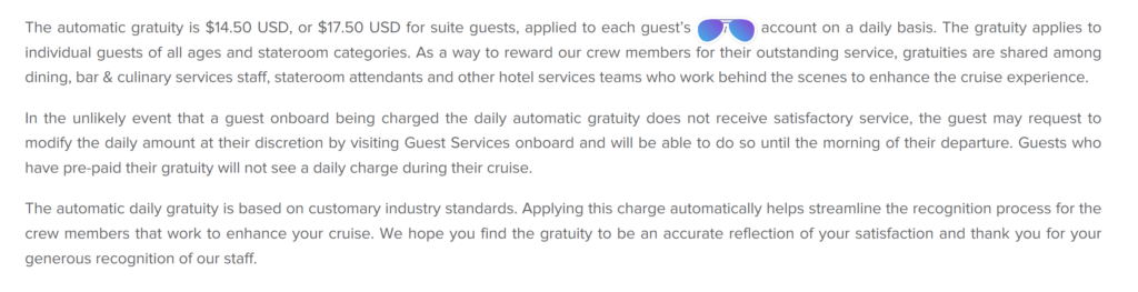 Cruise Line Service Charge Statement