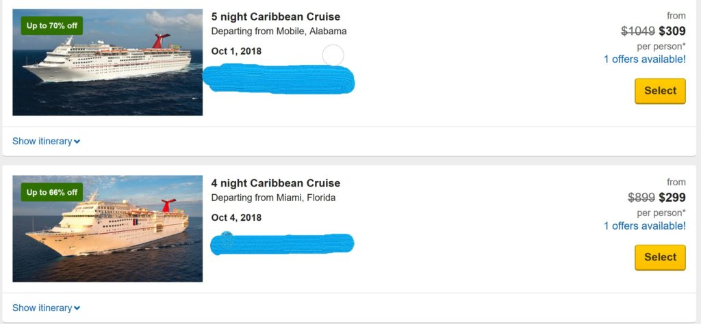 Cruise Pricing Example